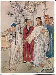 chinese depiction of Jesus and Rich Young Ruler